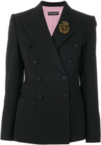 Dolce & Gabbana double breasted crown patch blazer - women - Silk/Polyamide/Polyester/Virgin Wool - 40