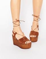 Asos TOO GOOD Suede Tie Up Wedge Sandals