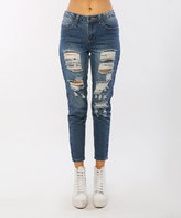 Dark Blue Distressed Boyfriend Jeans