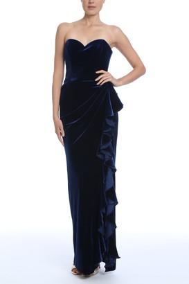 Badgley Mischka Velvet Ruffle Strapless Gown