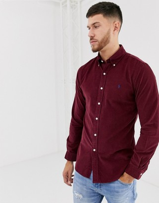 Polo Ralph Lauren slim fit cord shirt in burgundy with player logo-Red