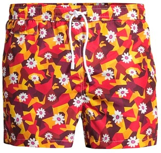 Kiton Geometric Floral-Print Swim Trunks