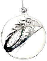 Asstd National Brand 3.25 Regal Peacock Clear Glass Christmas Ball Ornament with Faux Feather