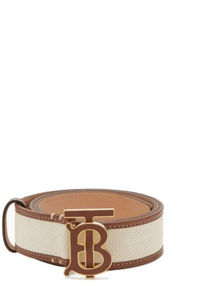 Burberry Tb-buckle Leather And Canvas Belt - Cream Multi