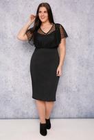 Yours Clothing SCARLETT & JO Black Midi Dress With Polka Dot Mesh Overlay