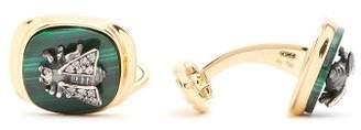 Gucci Diamond And Malachite Bee-embellished Cufflinks - Mens - Gold