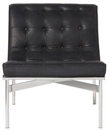 "Myron 28.5"" Lounge Chair Orren Ellis Fabric: Burnham Black Genuine Leather"