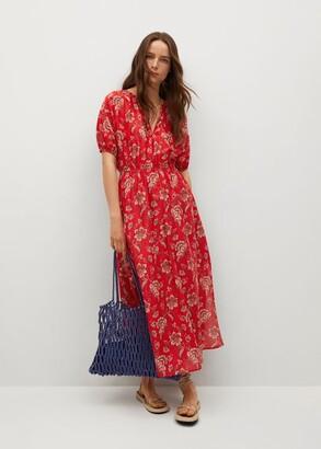 MANGO Printed ruched dress