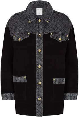 Sandro Quilted Denim Insert Cardigan