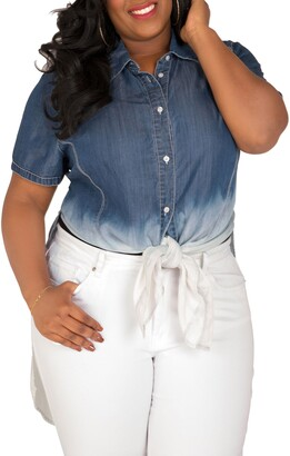 Poetic Justice Regina Ombre Denim Tunic Shirt