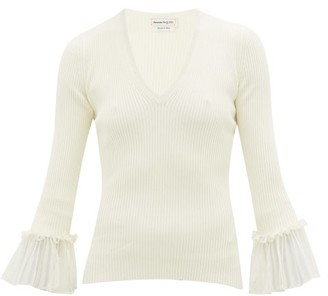 Alexander McQueen Ruffled-cuff Ribbed-knit Sweater - Womens - Ivory