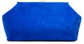 Mansur Gavriel Suede Volume Clutch in Blue.