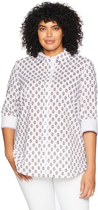 Foxcroft Women's Plus Size Ava Ikat Dot