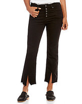 Free People Button Front Cropped Flare Jeans