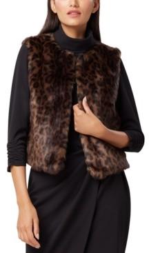 Tahari ASL Leopard-Print Faux-Fur Vest