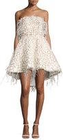 Alexandra Vidal Strapless Feather-Embellished Cocktail Dress, Multi
