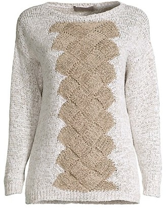 D-Exterior Basketweave Cabled Sweater