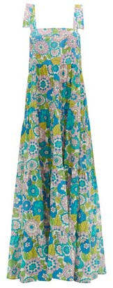 Dodo Bar Or Lima Square-neck Floral-print Dress - Womens - Blue Print