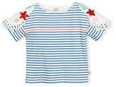 Billieblush Short-Sleeve Striped Cotton Jersey Tee, Blue/White, Size 4-8