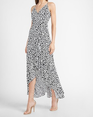 Express Leopard Ruffle Wrap Front Maxi Dress