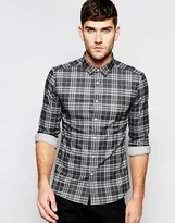 Asos Skinny Denim Shirt With Check In Long Sleeve