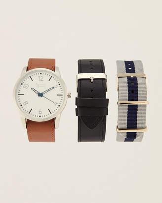 American Exchange AMIN5166S100 Brown & White Watch & Interchangeable Strap Watch Set