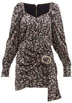 Dodo Bar Or Madonna Floral-print Velvet Mini Dress - Womens - Black White