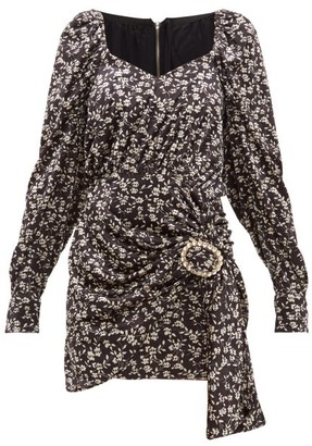 Dodo Bar Or Madonna Floral-print Velvet Mini Dress - Black White