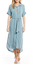 O'Neill Alexandra Tie-Front Striped Midi Shirt Dress