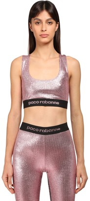 Paco Rabanne Stretch Lurex Jersey Bra W/logo Band