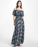 Brooks Brothers Palm Tree Print Cotton-Silk Maxi Dress