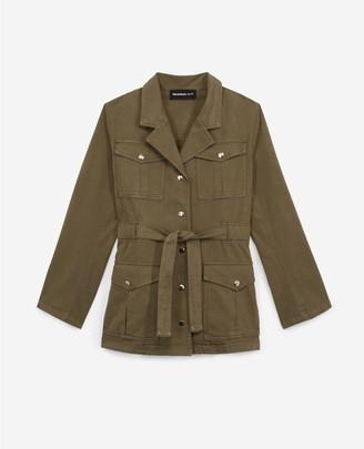 The Kooples Smart khaki jacket with belt and pockets