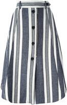 Sportmax striped buttoned A-line skirt - women - Cotton/Linen/Flax - 42