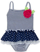 Little Me Baby Girls Stripes and Dots One-Piece Swimsuit
