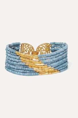 Bibi Marini - Mitu Gold-plated And Ceramic Beaded Bracelet - Blue