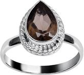 Ice 1 1/3 CT TW Smokey Quartz White Rhodium-Plated Brass Fashion Ring