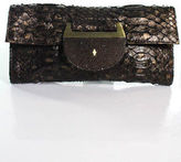 R & Y Augousti R&Y Augousti Brown Embossed Leather Stingray Clutch Handbag