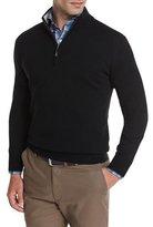 Peter Millar Merino Quarter-Zip Sweater, Black
