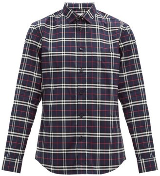 Burberry Simpson Checked Cotton-blend Shirt - Navy Multi