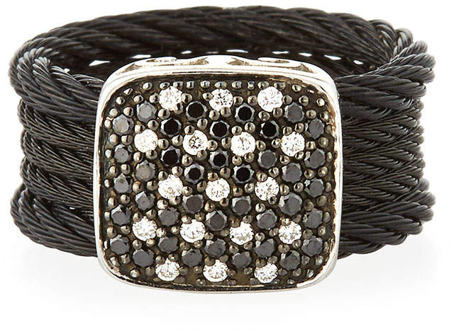 Alor Noir Two-Tone Diamond Ring, Size 7