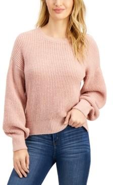 Freshman Juniors' Crew-Neck Balloon-Sleeve Sweater