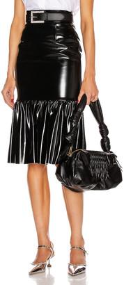 Miu Miu Ruffle Midi Skirt in Nero | FWRD
