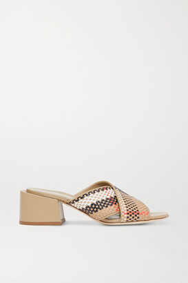 Burberry Woven Leather Mules - Beige