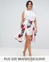 Coast Plus Toulouse Floral Printed Overlay Hem Midi Skirt