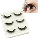 Start 3 Pair Natural Make Up Soft Dense False Eyelashes Black Eye Lashes (D)
