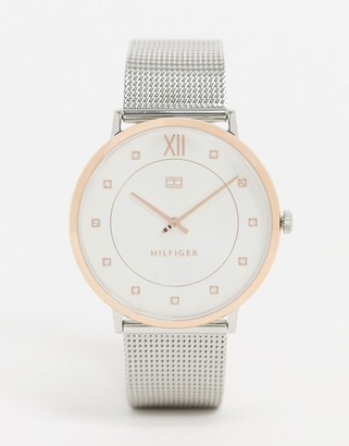 Tommy Hilfiger 1781811 silver mesh contrast watch