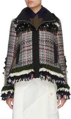 Sacai Frayed tweed jacket