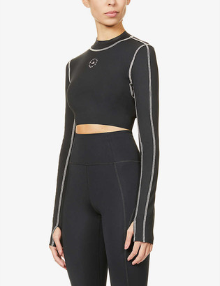 adidas by Stella McCartney Primeblue logo-print cropped stretch-recycled polyester top