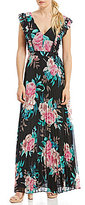 Eliza J Floral Pleated Skirt Maxi Dress