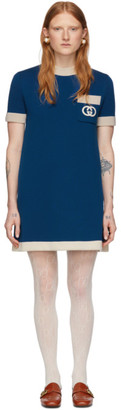Gucci Blue Wool GG Dress